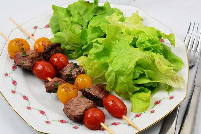 Brochettes de boeuf aux tomates cerise sans gluten