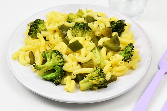 Coquillettes brocoli et poivron vert sans gluten