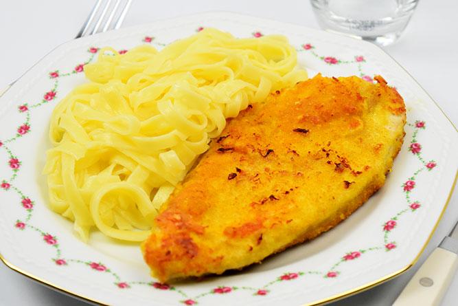 Escalope panée et tagliatelles sans gluten