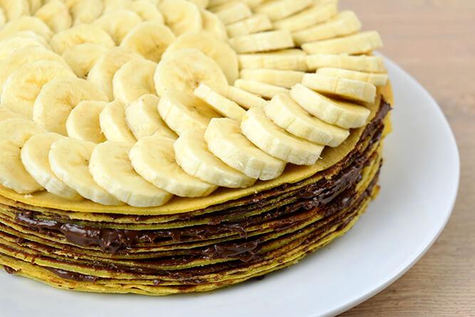 Gâteau de crêpes au chocolat et banane sans gluten