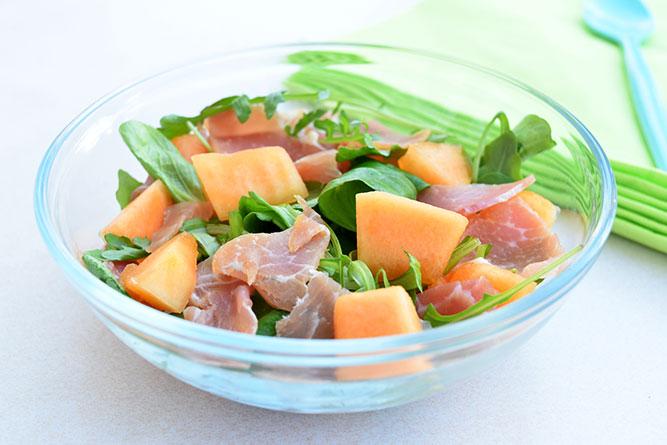 Salade jambon cru et melon sans gluten