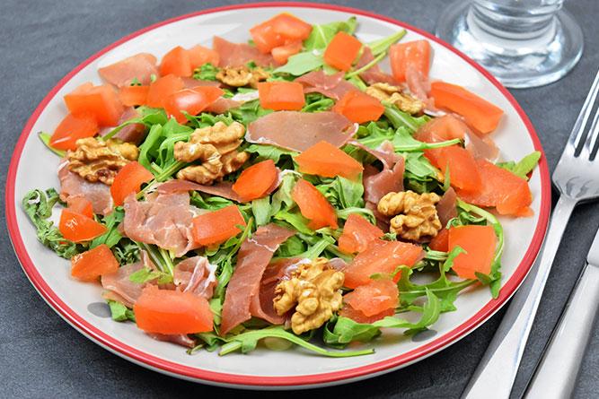 Salade roquette et jambon cru sans gluten